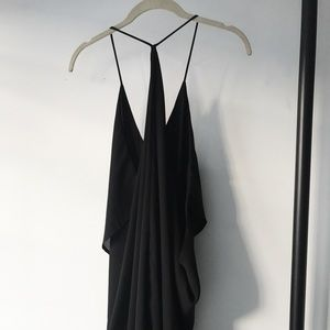 Racer Open-back Black Dress